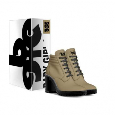 gallery/dk beige boot heel-shoes-with_box