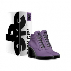 gallery/purple boot heel-shoes-with_box